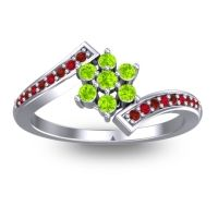 Simple Floral Pave Utpala Peridot Ring with Garnet and Ruby in 14k White Gold