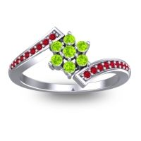 Simple Floral Pave Utpala Peridot Ring with Ruby in 14k White Gold
