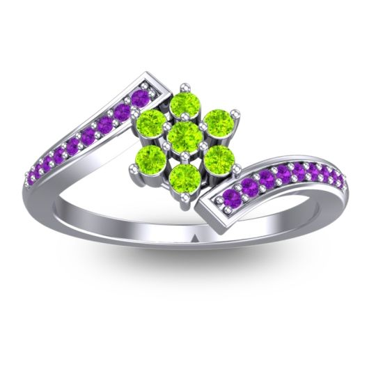 Peridot Simple Floral Pave Utpala Ring with Amethyst in 18k White Gold
