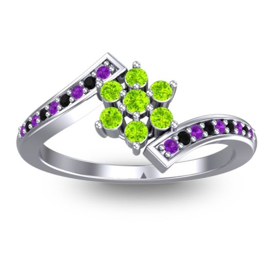 Simple Floral Pave Utpala Peridot Ring with Amethyst and Black Onyx in 18k White Gold