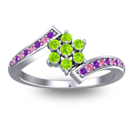 Peridot Simple Floral Pave Utpala Ring with Amethyst and Pink Tourmaline in Platinum
