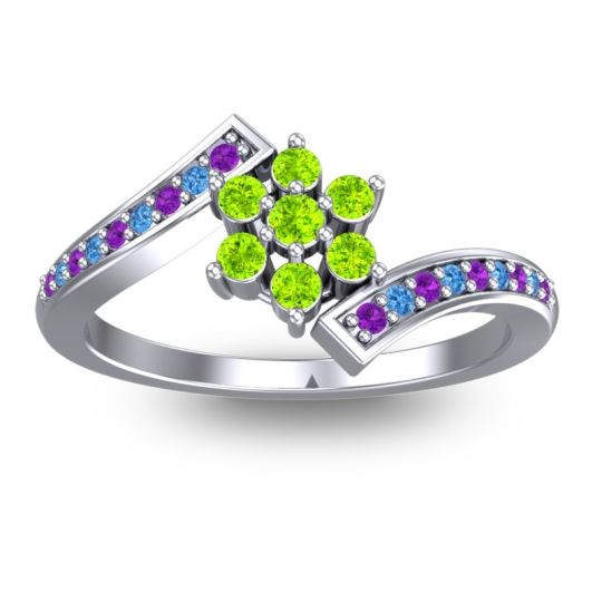 Peridot Simple Floral Pave Utpala Ring with Amethyst and Swiss Blue Topaz in Palladium