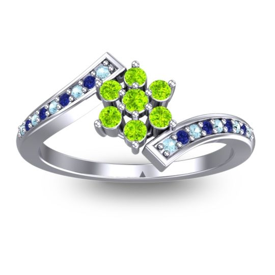 Simple Floral Pave Utpala Peridot Ring with Aquamarine and Blue Sapphire in 14k White Gold