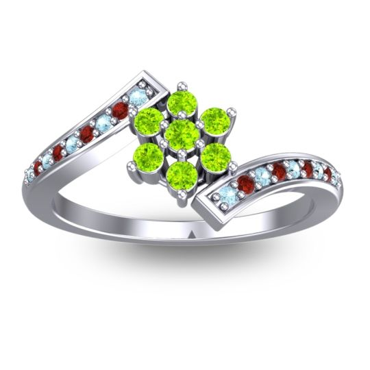 Peridot Simple Floral Pave Utpala Ring with Aquamarine and Garnet in Platinum