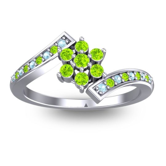 Peridot Simple Floral Pave Utpala Ring with Aquamarine in 14k White Gold