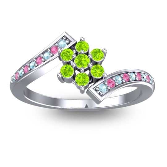 Peridot Simple Floral Pave Utpala Ring with Aquamarine and Pink Tourmaline in 14k White Gold