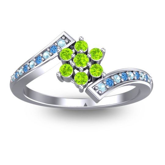 Simple Floral Pave Utpala Peridot Ring with Aquamarine and Swiss Blue Topaz in 18k White Gold