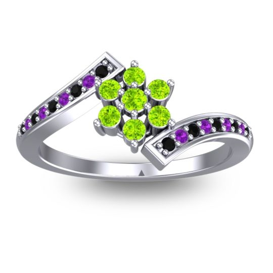 Simple Floral Pave Utpala Peridot Ring with Black Onyx and Amethyst in Palladium