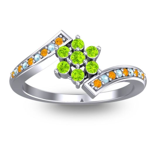 Peridot Simple Floral Pave Utpala Ring with Citrine and Aquamarine in 18k White Gold