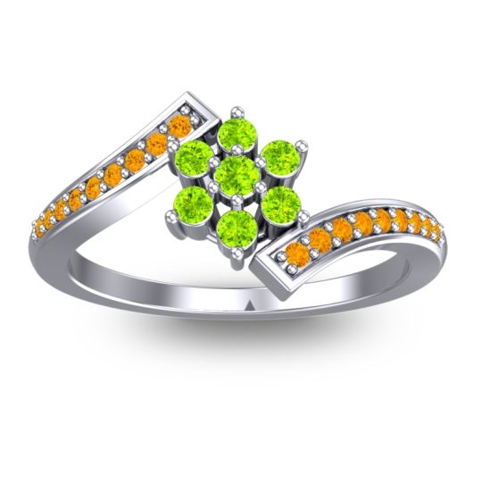 Peridot Simple Floral Pave Utpala Ring with Citrine in Platinum