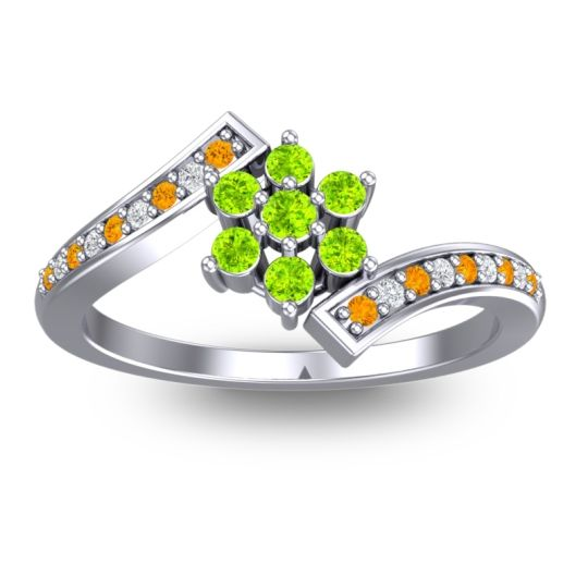 Peridot Simple Floral Pave Utpala Ring with Citrine and Diamond in Palladium