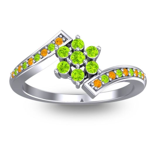 Peridot Simple Floral Pave Utpala Ring with Citrine in 14k White Gold
