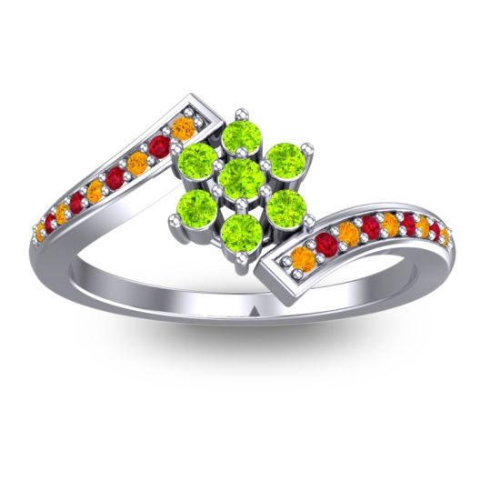 Peridot Simple Floral Pave Utpala Ring with Citrine and Ruby in Platinum