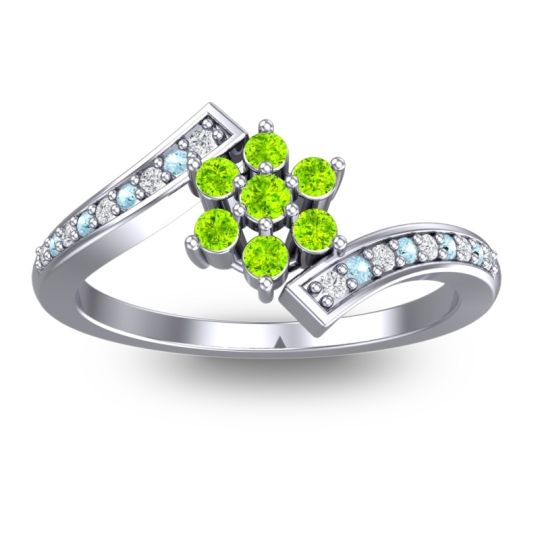 Peridot Simple Floral Pave Utpala Ring with Diamond and Aquamarine in 14k White Gold