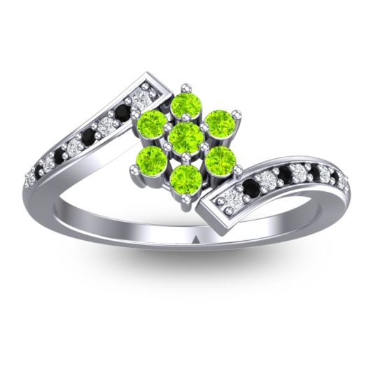 Peridot Simple Floral Pave Utpala Ring with Diamond and Black Onyx in Platinum