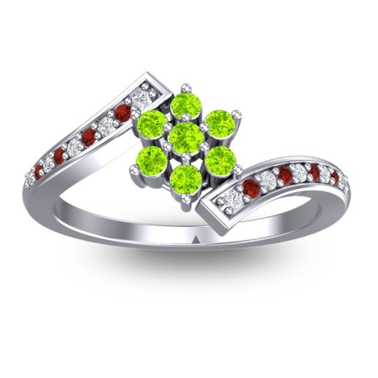 Peridot Simple Floral Pave Utpala Ring with Diamond and Garnet in Palladium