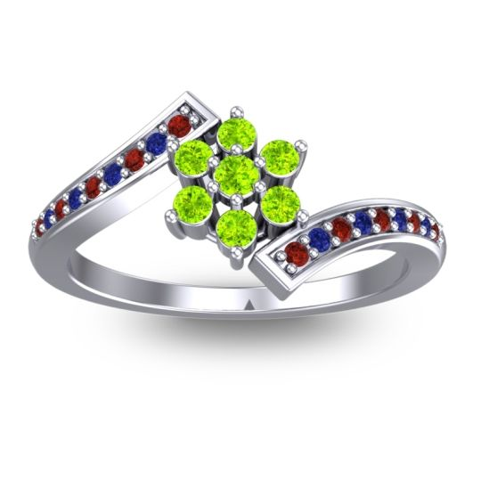 Simple Floral Pave Utpala Peridot Ring with Garnet and Blue Sapphire in 14k White Gold