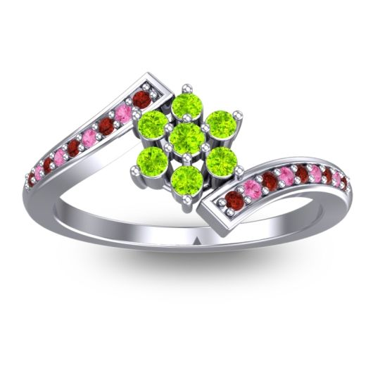 Simple Floral Pave Utpala Peridot Ring with Garnet and Pink Tourmaline in 18k White Gold
