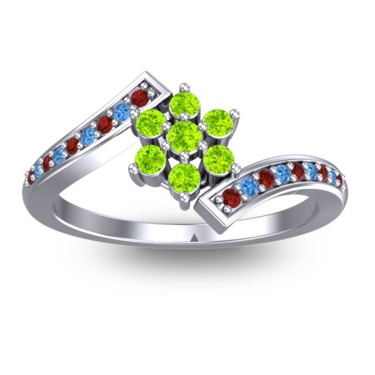 Peridot Simple Floral Pave Utpala Ring with Garnet and Swiss Blue Topaz in 14k White Gold