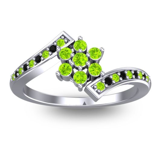 Peridot Simple Floral Pave Utpala Ring with Black Onyx in 14k White Gold