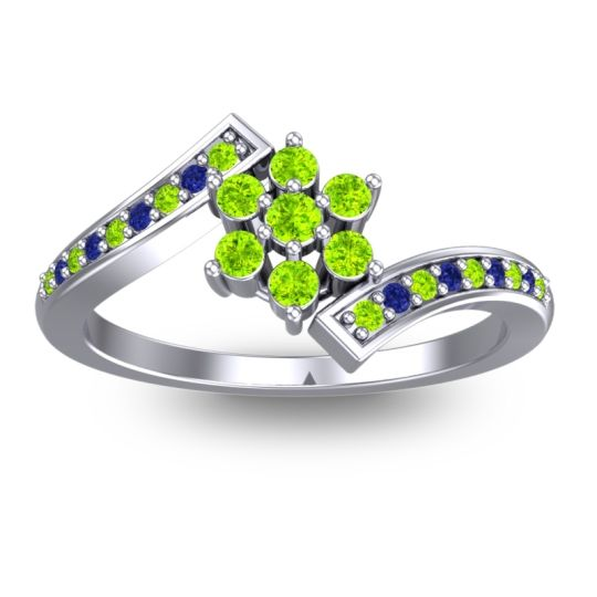 Peridot Simple Floral Pave Utpala Ring with Blue Sapphire in 18k White Gold