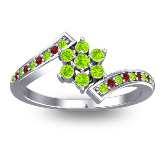 Peridot Simple Floral Pave Utpala Ring with Garnet in 14k White Gold
