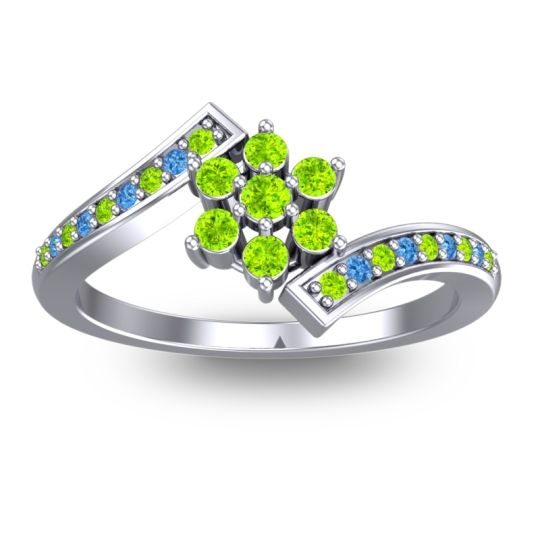 Peridot Simple Floral Pave Utpala Ring with Swiss Blue Topaz in 14k White Gold
