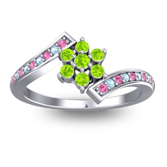 Peridot Simple Floral Pave Utpala Ring with Pink Tourmaline and Aquamarine in 18k White Gold