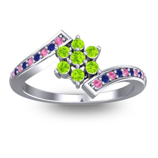 Peridot Simple Floral Pave Utpala Ring with Pink Tourmaline and Blue Sapphire in 18k White Gold