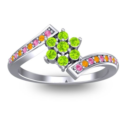 Peridot Simple Floral Pave Utpala Ring with Pink Tourmaline and Citrine in 14k White Gold