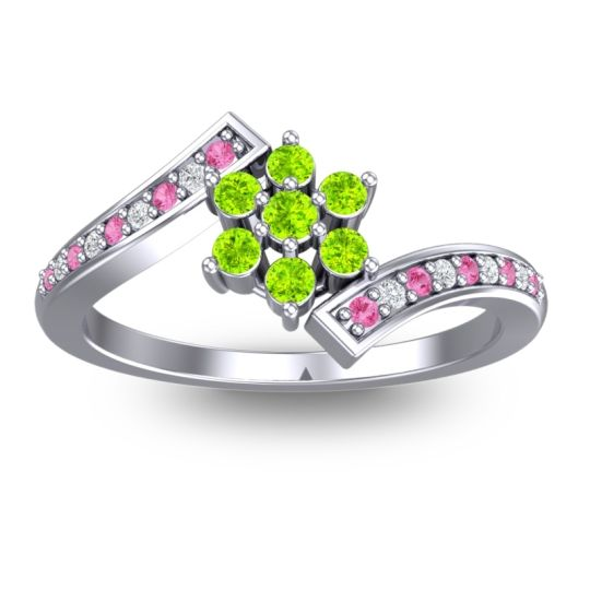 Peridot Simple Floral Pave Utpala Ring with Pink Tourmaline and Diamond in 14k White Gold