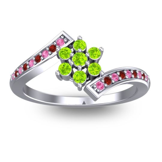 Peridot Simple Floral Pave Utpala Ring with Pink Tourmaline and Garnet in Palladium