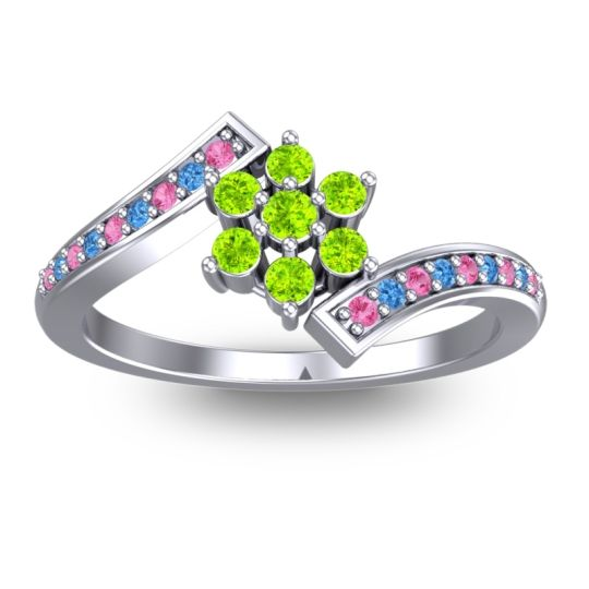 Simple Floral Pave Utpala Peridot Ring with Pink Tourmaline and Swiss Blue Topaz in 18k White Gold