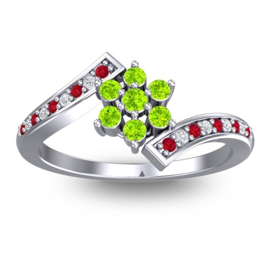 Peridot Simple Floral Pave Utpala Ring with Ruby and Diamond in 14k White Gold