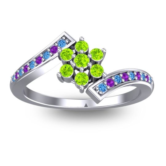 Peridot Simple Floral Pave Utpala Ring with Swiss Blue Topaz and Amethyst in Platinum