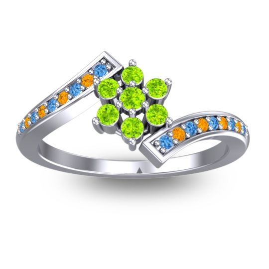 Peridot Simple Floral Pave Utpala Ring with Swiss Blue Topaz and Citrine in 14k White Gold