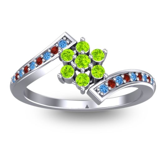 Peridot Simple Floral Pave Utpala Ring with Swiss Blue Topaz and Garnet in Platinum