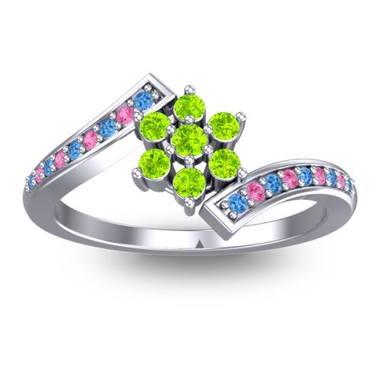 Peridot Simple Floral Pave Utpala Ring with Swiss Blue Topaz and Pink Tourmaline in 18k White Gold