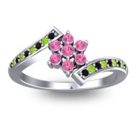 Simple Floral Pave Utpala Pink Tourmaline Ring with Black Onyx and Peridot in 14k White Gold