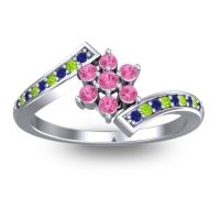 Simple Floral Pave Utpala Pink Tourmaline Ring with Blue Sapphire and Peridot in Palladium