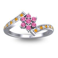 Simple Floral Pave Utpala Pink Tourmaline Ring with Citrine and Diamond in Platinum