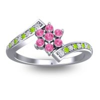 Simple Floral Pave Utpala Pink Tourmaline Ring with Diamond and Peridot in 18k White Gold