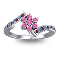 Simple Floral Pave Utpala Pink Tourmaline Ring with Garnet and Swiss Blue Topaz in Palladium