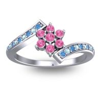 Simple Floral Pave Utpala Pink Tourmaline Ring with Swiss Blue Topaz and Aquamarine in 14k White Gold