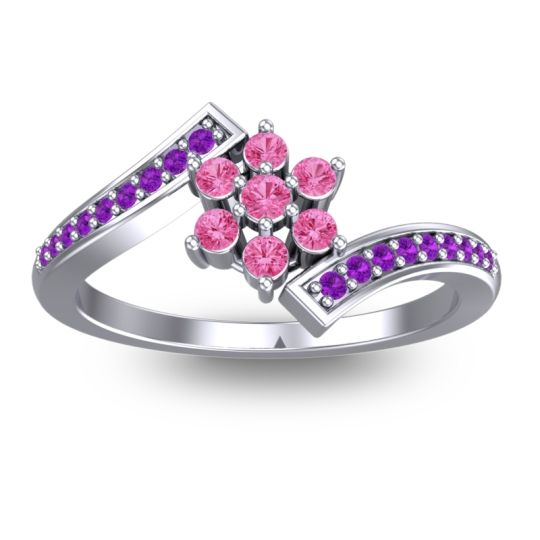Simple Floral Pave Utpala Pink Tourmaline Ring with Amethyst in Palladium