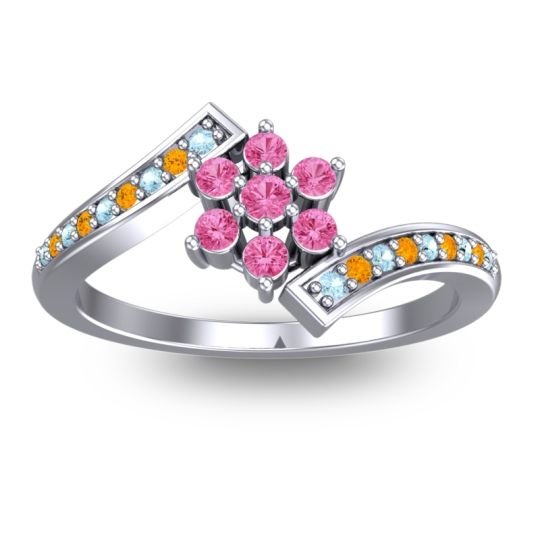 Pink Tourmaline Simple Floral Pave Utpala Ring with Aquamarine and Citrine in 14k White Gold