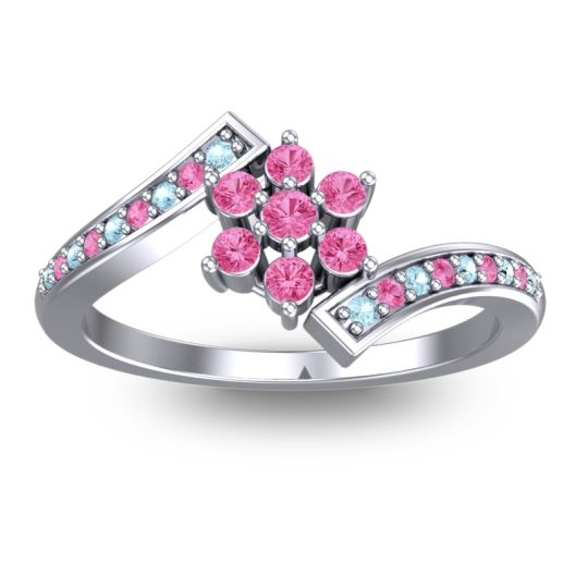 Pink Tourmaline Simple Floral Pave Utpala Ring with Aquamarine in 14k White Gold