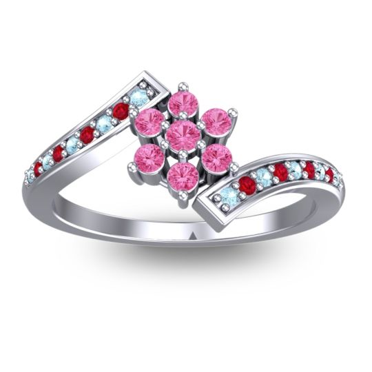 Simple Floral Pave Utpala Pink Tourmaline Ring with Aquamarine and Ruby in 14k White Gold