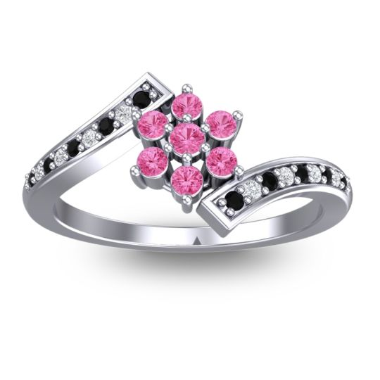 Pink Tourmaline Simple Floral Pave Utpala Ring with Black Onyx and Diamond in Platinum