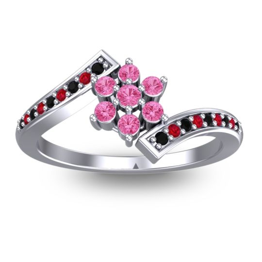 Pink Tourmaline Simple Floral Pave Utpala Ring with Black Onyx and Ruby in Platinum